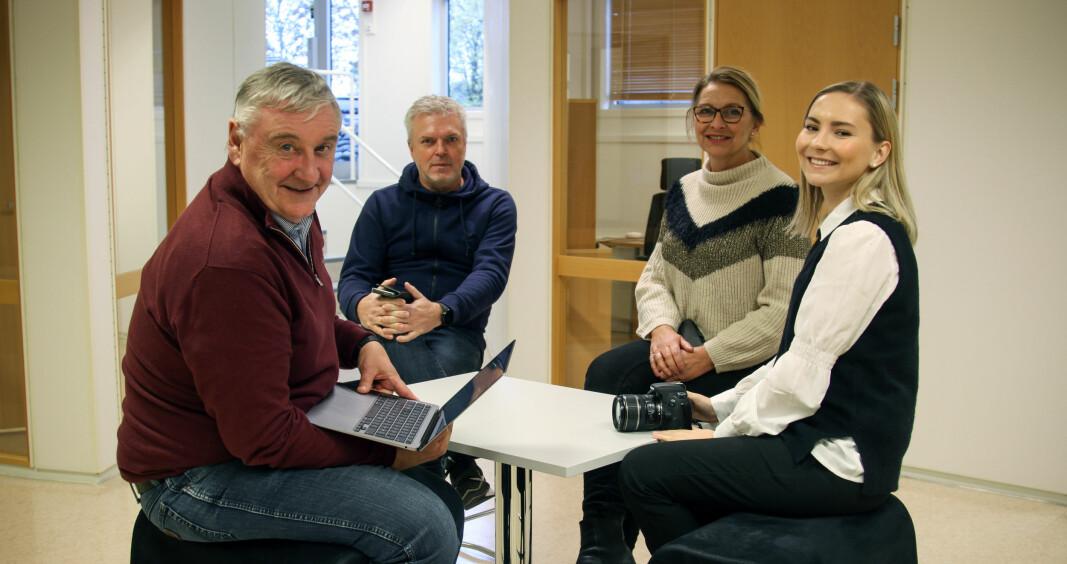 Staben av fast ansatte i Mitt Kongsvinger på åpningsdagen består av (f.v) Bjørn Taalesen, Geir Christiansen, Elisabeth Sjøbotten og Benedicte Bratås.