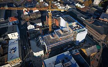 Til jul er to av tre bygninger tett: Se nye Haugekvartalet fra lufta