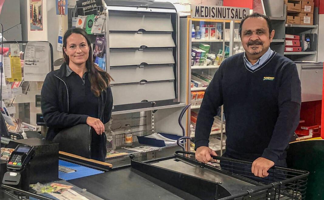 I tillegg til Kine Johnsrud og Assem Abdalla er også Ida Sandbakken, som hadde fri da vi besøkte butikken, sentrale brikker i driften av nærbutikken.