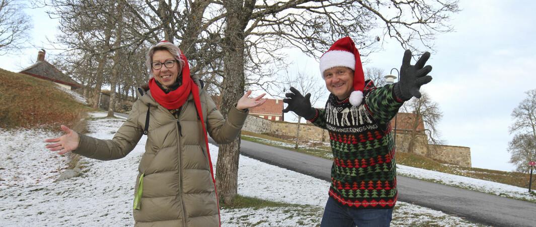 Marvel Sørensen og Uno Arnesen ser frem til neste helgs Julemarked. I år bir mye sentrert til området rundt Gyldenborg.