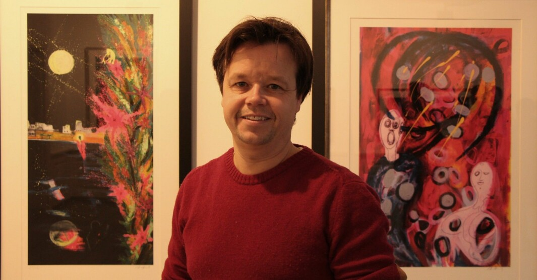 Aris bror, Espen Behn, var til stede under utstillingen i Kongsvinger.