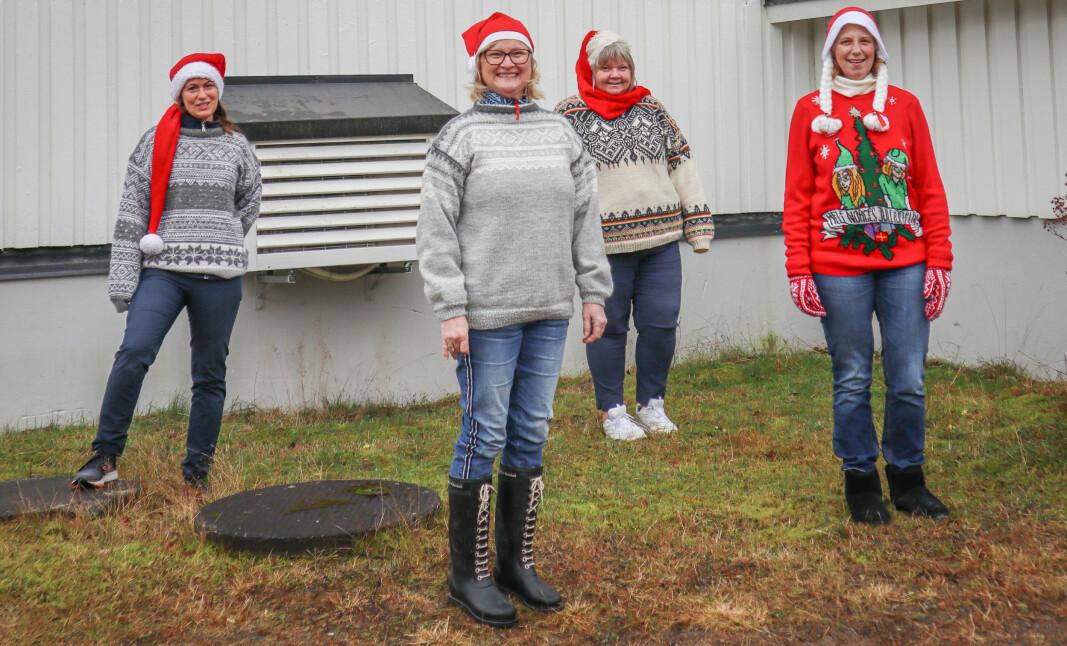 Kine Johnsrud (f.v.), Ellen Karlsson, Heidi Myrvold og Else Marie G.Nilsson arrangerer julemarked på samfunnshuset på Austmarka lørdag 5. desember.