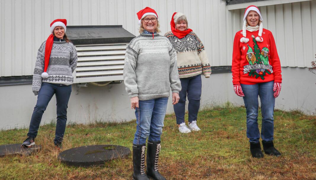 Kine Johnsrud (f.v.), Ellen Karlsson, Heidi Myrvold og Else Marie G.Nilsson skulle arrangert julemarked på samfunnshuset lørdag 5. desember.