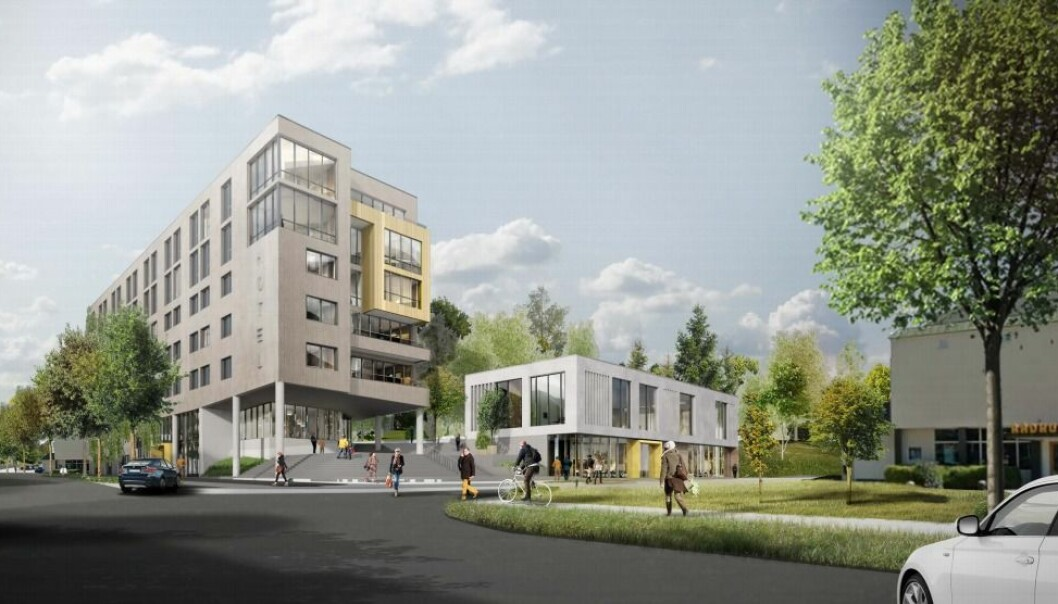 Slik var den første skissen fra utbyggerne, da prosjektet med et nytt sentrumshotell ble presentert for politikerne i 2018.