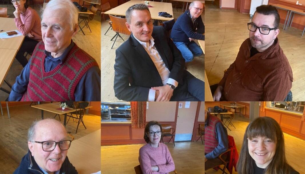 FOR BUDSJETTENDRINGER: Øverst fra venstre er Thor Ringsbu (KrF), Henrik Mohn (MDG), Tommy Smedtorp (Sp), Kjell Arne Hanssen (Frp), Inger Noer (V) og varaordfører Eli Wathne (H) nederst til høyre.