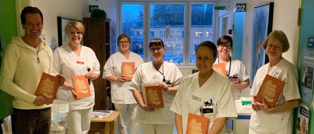 Thor Arne sammen med kreftsykepleiere ved Kongsvinger sykehus. Fra venstre: Trude Aasland, Ida Engebakken Venberget, Kari Hildegun Kagnes Negård, Inger Hansen, Linda Lysen og Bente Opsahl.