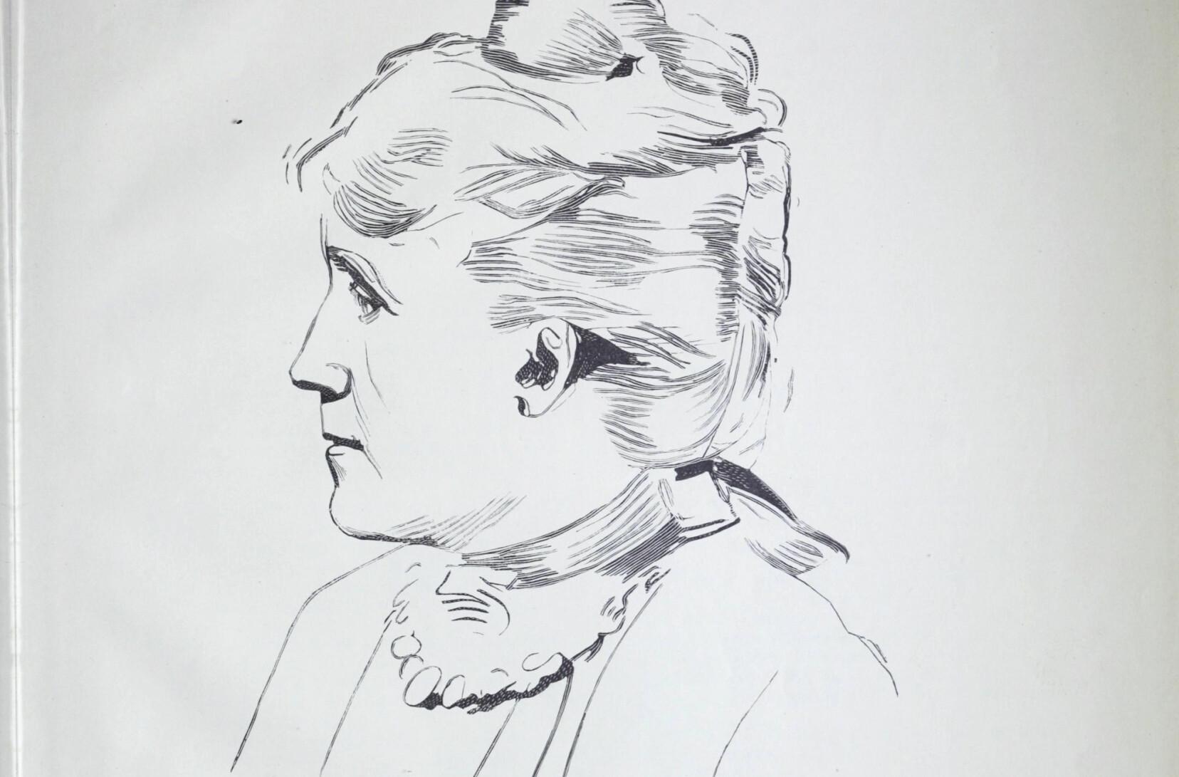 Erika Lie tegnet av Christian Krogh under et intervju i 1895. Hentet fra boken «12 af vore samtidige».