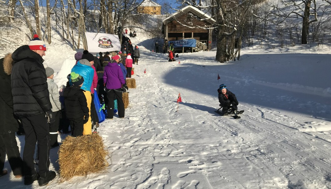Vinterfestivalen fra startområdet i 2018. Dette året bød på snø og aking.