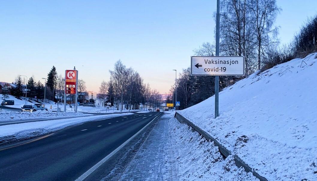 Vaksinasjon covid-19 skilting Kongsvinger kommune