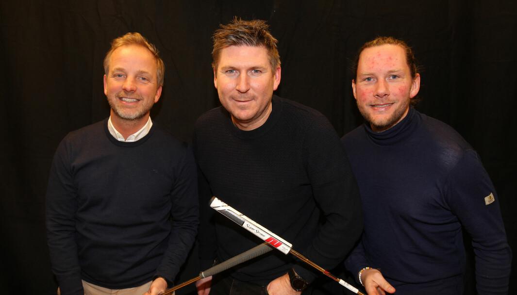 Marcus Lundén (midten) gjestet Ole Petter Vibekken (t.v.) og Roy Onsrud i podkasten Prøvesving.