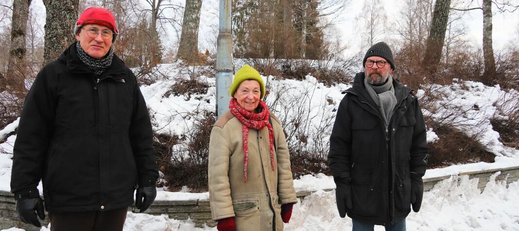 Kunstnerne Geir Hjetland, Kjersti Wexelsen Goksøyr og Dag Skedsmo var på befaring i Kongsvinger sentrum mandag.