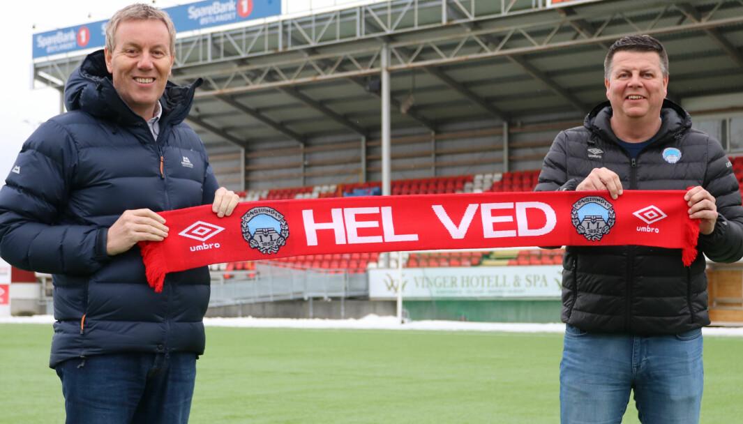 Erik Veiby (t.v.) og Rune Lundgren er fornøyde med samarbeidsavtalen som sikrer at Mitt Kongsvinger skal sende KILs treningskamper direkte.