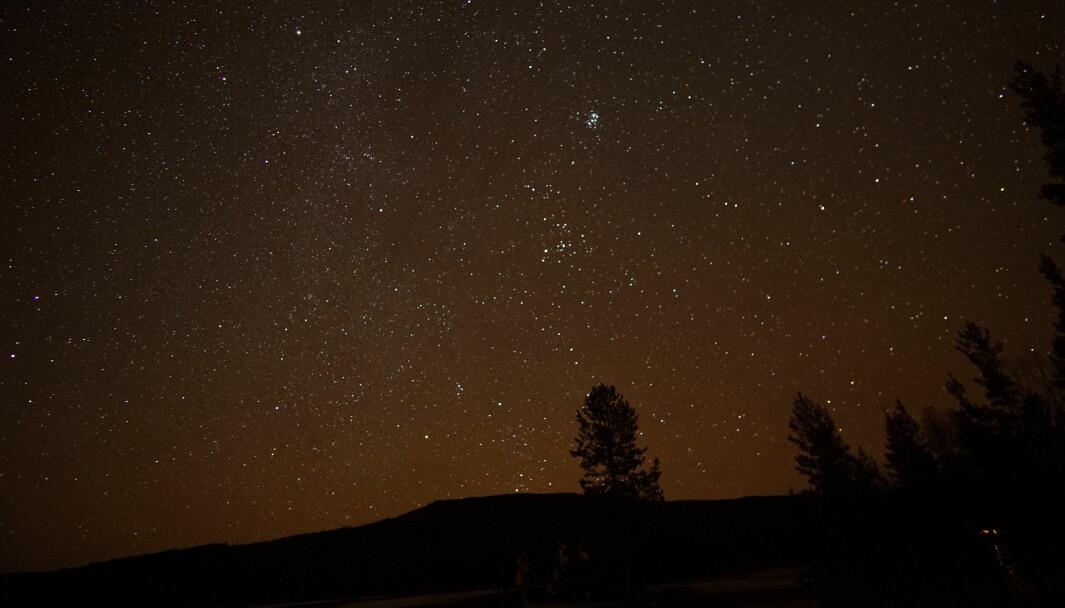 Nattehimmelen ved Abbortjernet i Finnskogen viser klare tegn på byens lysforurensning hvis man ser i retning av Kongsvinger.
