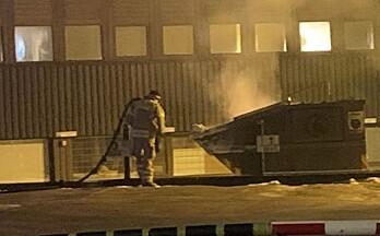 Brann i container i sentrum
