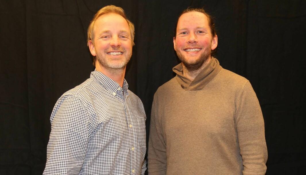 Programlederne Ole Petter Vibekken (t.v.) og Roy Onsrud er glade for at Prøvesving har slått til som podkast.