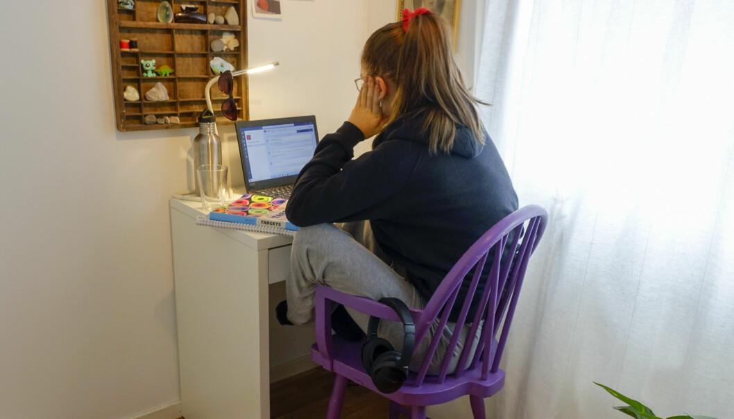 En elev sitter hjemme og deltar i undervisning via internett.