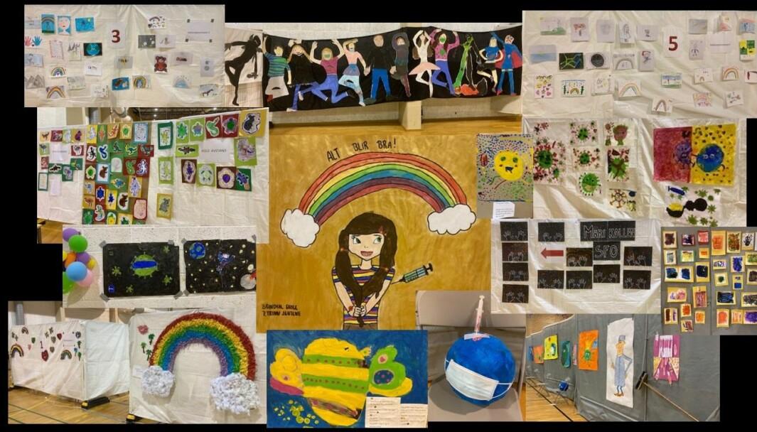 «Alt blir bra»: Barneskolene har bidratt med kunst, tegninger og dikt til å pynte hallen.