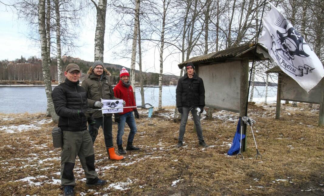 Robert Tollefsen (f.v.), Kenneth Johansen, Bjørn Harbosen og Max Fruth var klare for tokt 2. påskedag.