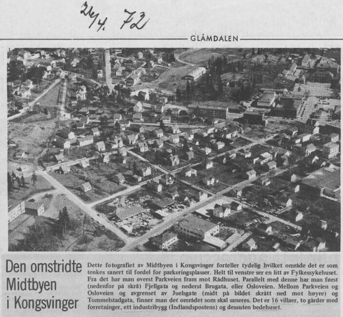 Faksimile fra Glåmdalen 26. april 1972.