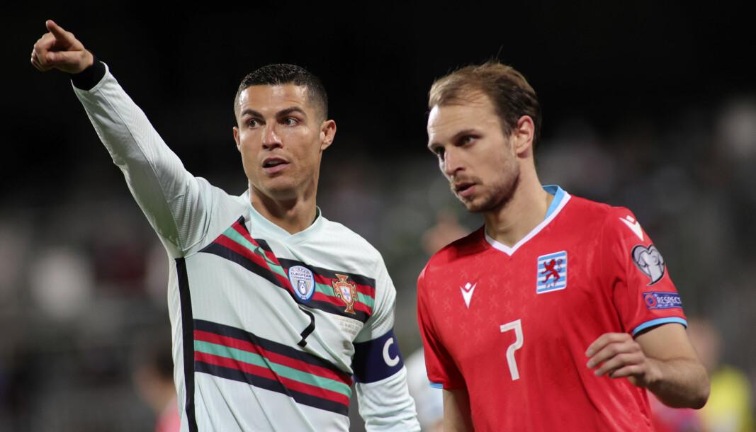 Lars Christian Krogh Gerson (t.h.) og Luxembourg møtte Portugal og Christiano Ronaldo i en landskamp 30. mars. 2. juni kommer Krogh Gerson til Ullevaal for å møte Norge.