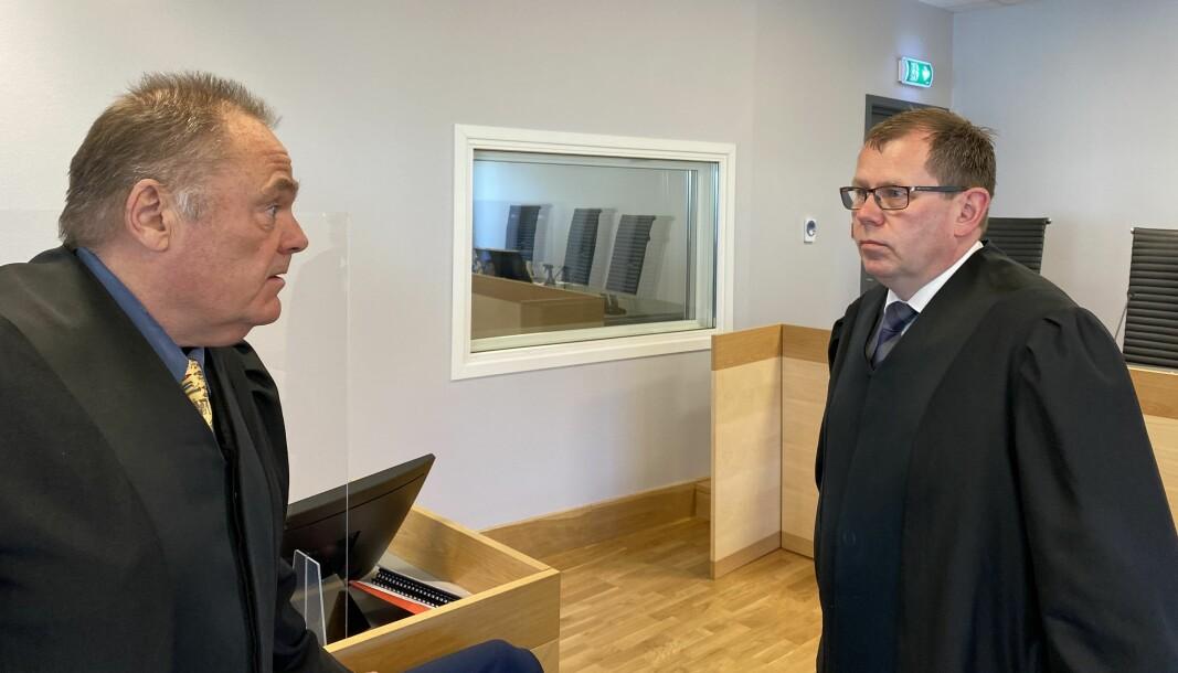 Statsadvokat Thorbjørn Klundseter (t.h.) aktorerer den alvorlige voldtektssaken som føres i Romerike og Glåmdal tingrett i dag. Advokat Arve Leiro Baastad bistår den fornærmede Kongsvinger-kvinnen.