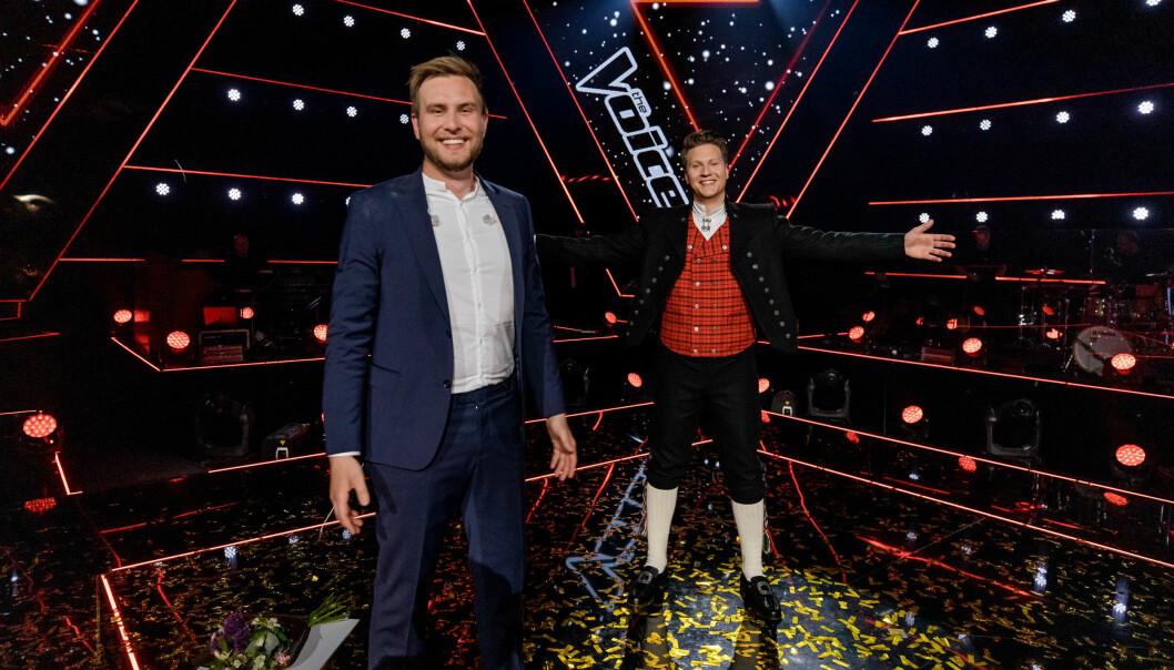 Tom «Matoma» Stræte Lagergren (t.h) var mentor for Erlend Gunstveit som gikk til topps i The Voice. I finalen hadde Matoma Solør-Odal-bunad fra Tante Marie som finaleantrekk.