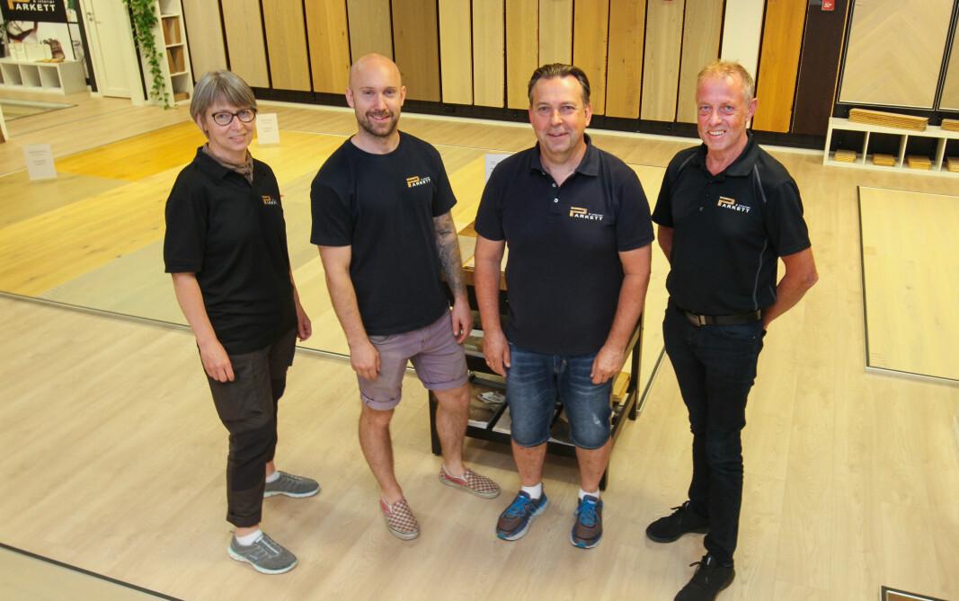 Parkett & Interiør har opplevd en fantastisk vekst etter at de flyttet bedriften til Kongsvinger. De fire ansatte er Synøve Torkildsby (f.v.), Fredrik Lismoen, Per Ivar Lismoen (eier) og Aslak Buhol.