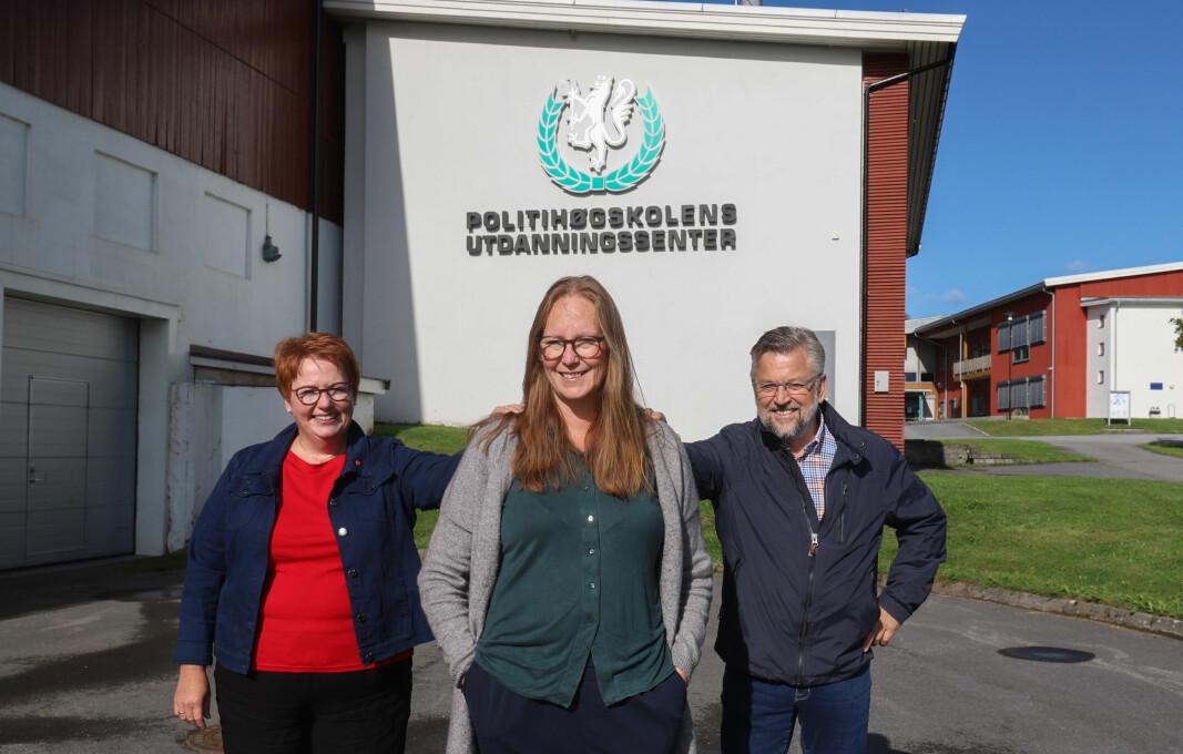 Lise Selnes (midten) lover å gjøre det hun kan for at Sæter fylles opp med studenter igjen om hun kommer inn på Stortinget til høsten. Elin Såheim Bjørkli og Sjur Strand gir henne full støtte.