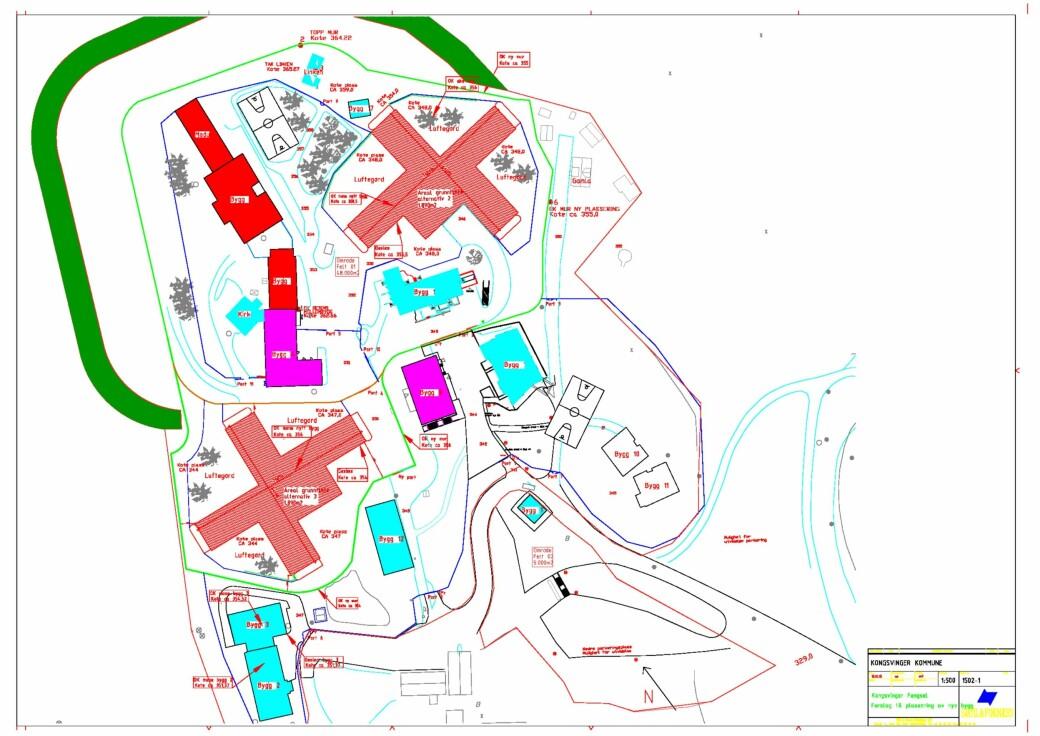 Flytting av fengselsmur og opptil to nye bygg (i rødt) er fengselets håp med nye fengselsplasser som flyttes ut av Oslo.