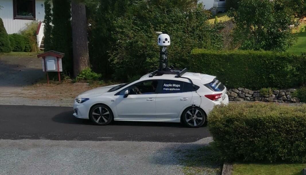 Her er Apple på fototur i Lia i Kongsvinger denne uka. Nå skal Google få bildekonkurranse selv om boligstrøkene hos oss.