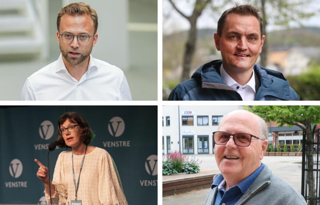 Nikolai Astrup (Høyre), Henrik Mohn (MDG), Inger Noer (Venstre) og Kjell Arne Hanssen (Frp) snakker om hets i politikken.
