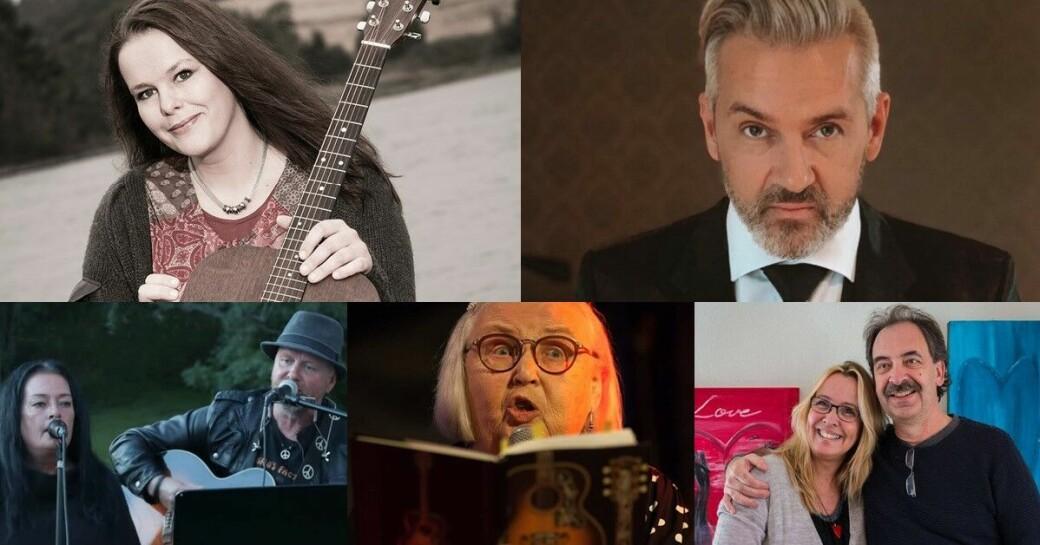 På scenen står Birgit Brinck, Tommy Michaelsen, Botan & June, Gerd Rotmo, samt Bengt Olsson og Heidi Iren Pettersen.