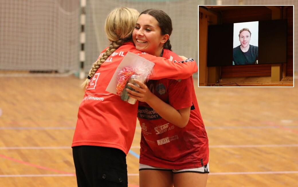 Magnus Gullerud sendte en hilsen til KIL, som søndag avduket den nye måltavla i Tråstadhallen. Banens beste, Kathrine Saedi, får også drakta hans.