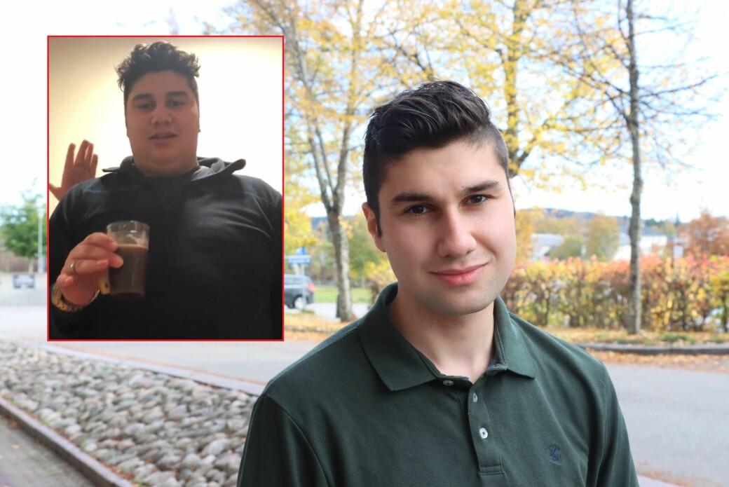 Sadug Alfeli har en helt vanlig høyde og kroppsfasong, men som 17-åring veide han likevel 129 kilo. Storspising var den gang beste medisin mot angst.